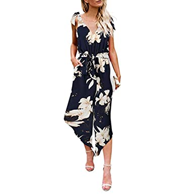 5948377831f Sinfu Women Flower Print Outfit Sleeveless Shoulder Bandage Wide Leg Long Jumpsuit  with Belt (S