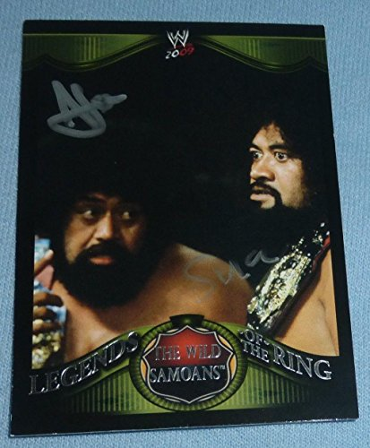 - Afa & Sika The Wild Samoans Signed 2009 Topps Legends of the Ring WWE Card #18 - Autographed Wrestling Cards