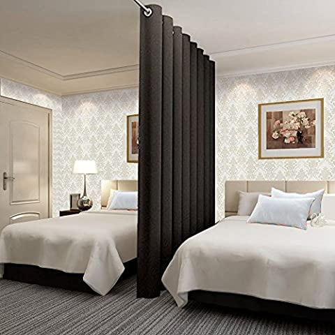 TWOPAGES Premium Heavyweight Room Divider Curtain : No One Can See Through, Total Privacy (15ft Wide x 8ft tall ) - (Wide Room Divider)