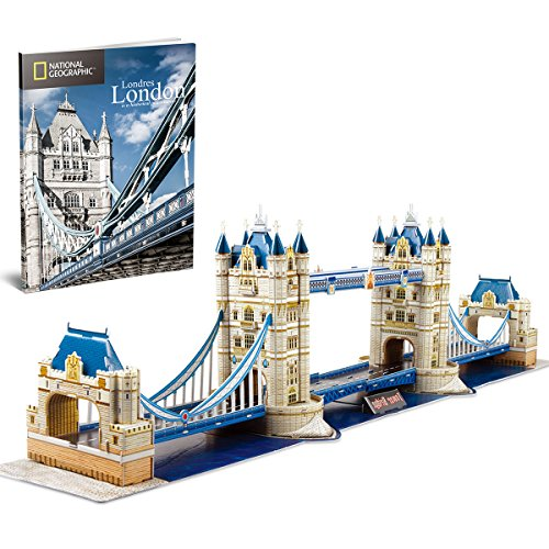 London Tower Bridge - CubicFun National Geographic 3D London Puzzles Britain Architecture Model Kits Toys for Adults and Children, the Tower Bridge, with a Booklet