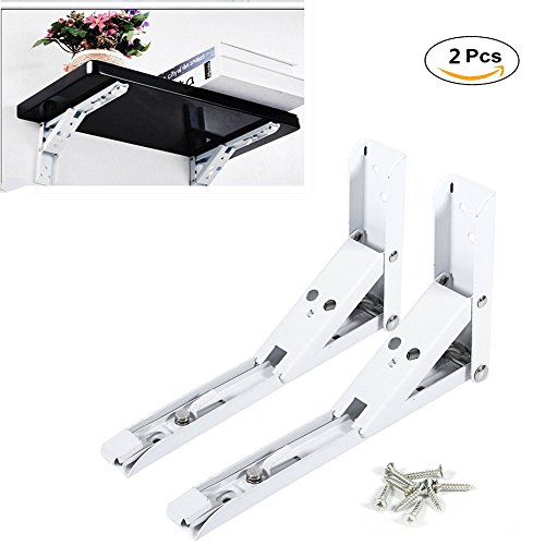 """Yosoo 2pcs Polished Stainless Steel Wall Mounted Folding Shelf Bracket Support with 8 Screws for Table Bench Desk Support Bracket-8"""" Metal Release Arm"""