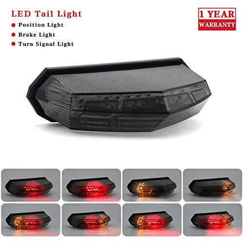 Universal Smoked Integrated Motorcycle 25 LED Tail Light With Turn Signal Function For Dirt Bike Buggy Chooper Cruiser ATV (Smoke)