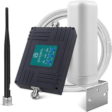 ANNTLENT Amplificador Señal Movil 2G 3G 4G Tri-Band Repetidor gsm 900/2100/2600MHz Amplificador Cobertura Movil Mejorar la Red y Llamar para ...