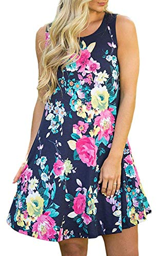 SimpleFun Women's Summer Sleeveless Bohemian Print Tunic Swing Loose Pockets T-Shirt Dress (XL, Floral Navy Blue)