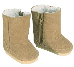 18 Inch Doll Boots Made by Sophia's fits American Girls Doll, Tan Suede Style with White Sherpa Lining and Zippers for easy Doll Dress Play, Tan Suede Boots