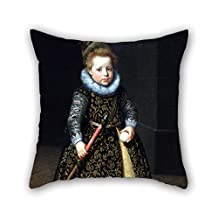 loveloveu 18 x 18 inches / 45 by 45 cm oil painting Paulus Moreelse - Portrait of a four-year old boy with a club and ball throw cushion covers,each side is fit for pub,festival,car seat,floor,loun