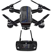 Skin for DJI Spark Mini Drone Combo - Thin Blue Line K9| MightySkins Protective, Durable, and Unique Vinyl Decal wrap cover | Easy To Apply, Remove, and Change Styles | Made in the USA
