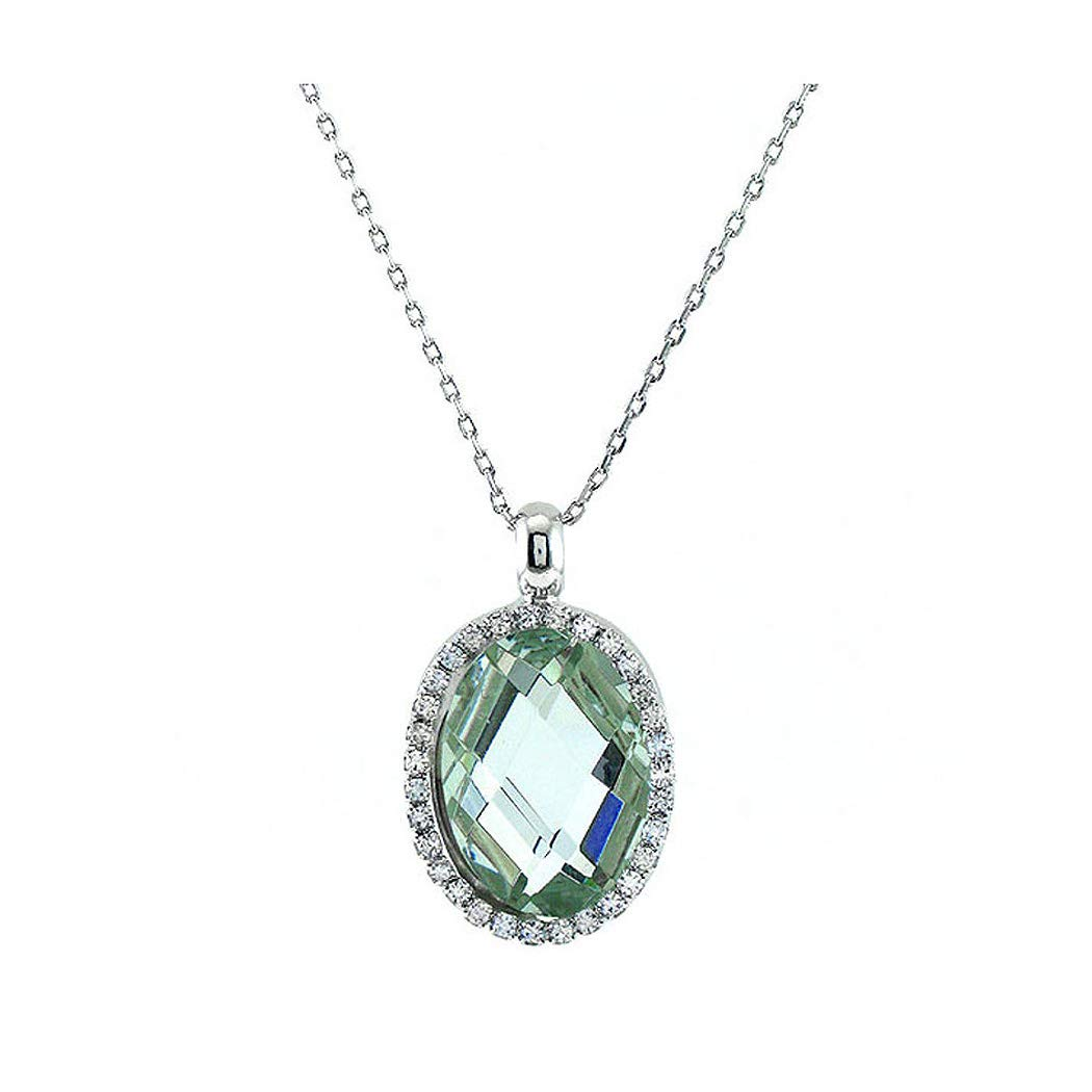 Glamorousky Glimmering Pendant with Silver Austrian Element Crystal Silver CZ and Necklace 3649