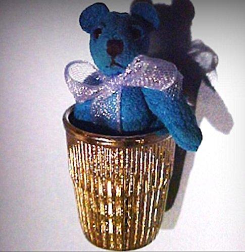 (Tiny Blue Suede Thimble Bear World of Miniature Bears Dollhouse Miniatures - My Mini Garden Dollhouse Accessories for Outdoor or House Decor)