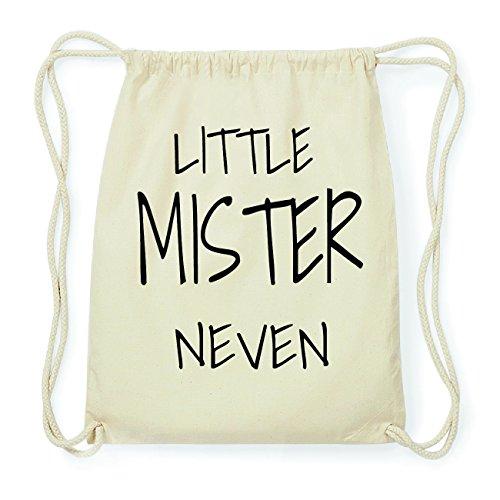JOllify NEVEN Hipster Turnbeutel Tasche Rucksack aus Baumwolle - Farbe: natur Design: Little Mister