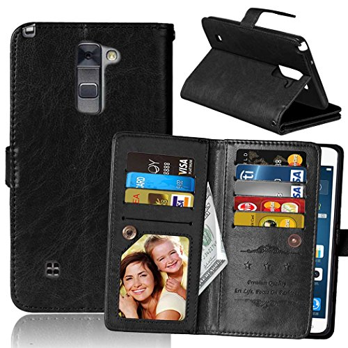 LG G Stylo 2 Case, SUMOON Luxury Fashion PU Leather Magnet Wallet Credit Card Holder Flip Case Cover with Built-in 9 Card Slots & Stand For LG G Stylo 2 / LG Stylus 2 LS775 (Black)