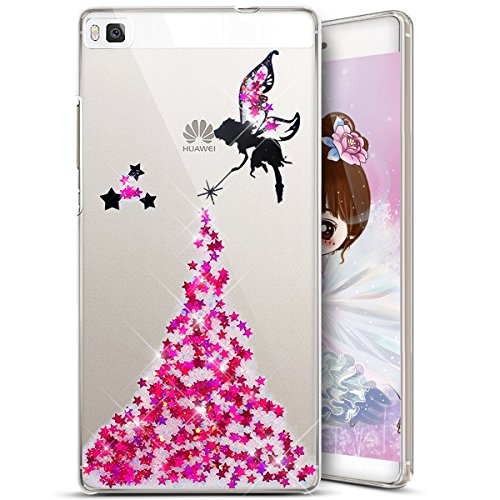 Ukayfe Liquid Fine Crystal tui Paillette pour P8 Glitter pour Coque P8 Coque TPU Ultra Silicone Huawei Bling Coque Housse Ultra Mince Glit Silicone Huawei P8 en Motif Bling Rose Ange toiles Huawei Paillette q6OZTwq