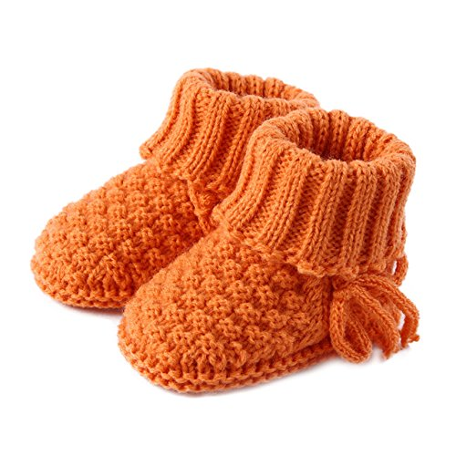 Skyflying Cotton Yarn Hand Knitting Bootee for Newborn Baby within 12months (Saffron Yellow)