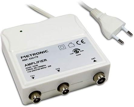 grande remise pour une performance supérieure vente pas cher Metronic 432176 Amplificateur d'intérieur avec réglage de Gain FM-UHF, Gain  réglable 30 DB Maximum, Protection 4G, Prises TV Ø9,52 mm, Blanc