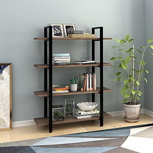 Cheap  W-LIVE 4-Tier Wood Industrial Bookshelf/Bookcase, Rustic Vintage Free Standing Shelf, Gray Oak