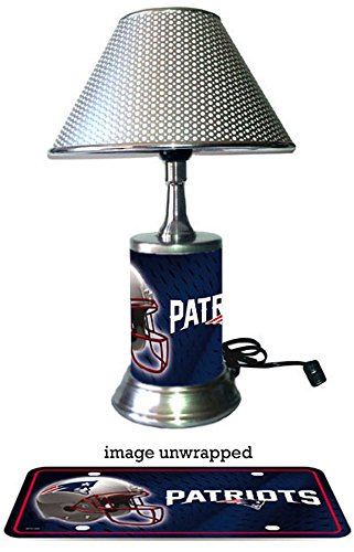JS Table Lamp with chrome shade, New England Patriots plate rolled in on the lamp (New England Patriots Lamp)