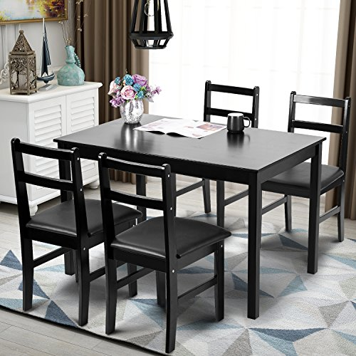 Room Table Dining Set Game (Merax 5pc Dinning Set Kitchen Dining Table with 4 Chairs Soild Wood Dark Espresso Finish)
