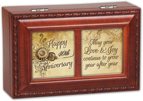 Cottage Garden Happy 40Th Anniversary Woodgrain Rope Trim Jewelry Music Box Plays Light Up My Life