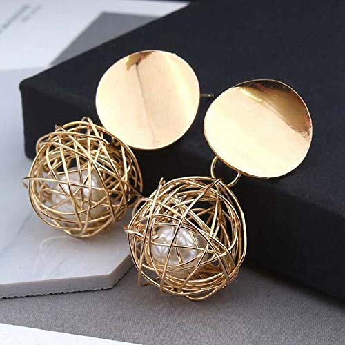 Jaruwan Fashion Charm Women Gold Plated Round Pearl Dangle Drop Earrings Stud Jewelry