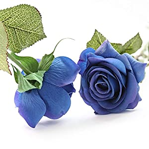 IPOPU 10 Pcs Romantic Real Touch Artificial False Latex Silk Blooming Roses Bouquet Floral Leaf for Home Wedding Party Garden Bridal Hydrangea Decorations DIY 2