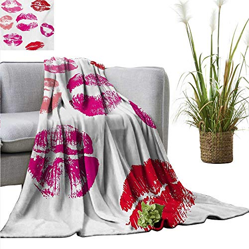 AndyTours Swaddle Blanket,Kiss,Grunge Pink and Red Lipstick Marks Beauty Desire Love Valentines Smooch,Fuchsia Ruby Red Rose,Lightweight Extra Soft Skin Fabric,Not Allergic 60