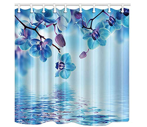 (Keke's Home Floral Blue Iris Flower with Water Reflection, Polyester Fabric Mildew Proof Waterproof Cloth Shower Room Decor Shower Curtains,60
