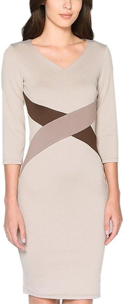 Colyanda Womens Elegant V-Neck 3//4 Color-Block OL Slim Fit Sheath Pencil Dress