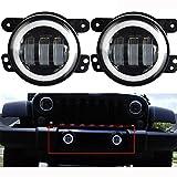 Lantsun 4 Inch 60W CREE LED Fog Lights Halo Ring Angel Eyes for Jeep Wrangler 97-16 JK TJ LJ ATV (1 Pair) LS023R 2 Yr Warranty ()