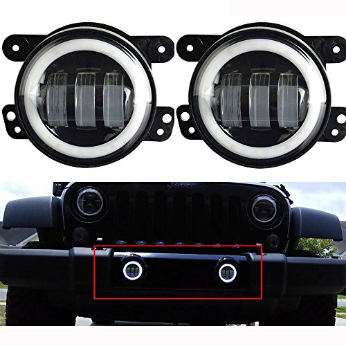 Lantsun 4 Inch 60W CREE LED Fog Lights Halo Ring Angel Eyes for Jeep Wrangler 97-16 JK TJ LJ ATV (1 Pair) LS023R (Fog Lights Eye Angel compare prices)