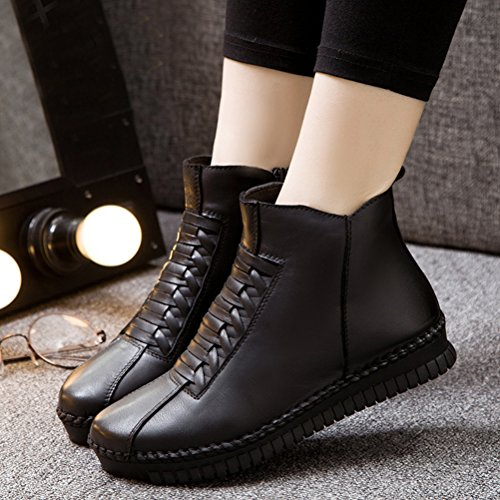 Style2 Leather Up Women Retro MatchLife Lace Winter Black Ankle Fleece Boots qaFE8SxS
