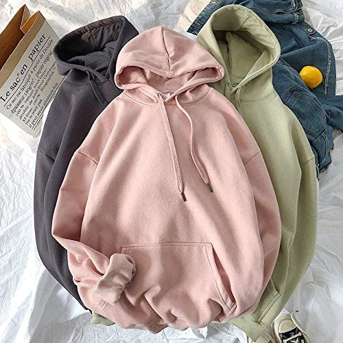 Gouen Cotton Warme übergroße Sweatshirts Damen Solid Hooded Female Thicken Hoodies Lady Autumn Fashion Tops, 2, XXXL