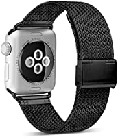 HILIMNY Compatible for Apple Watch Band 42mm 44mm, Stainless Steel Mesh Sport Wristband Loop with Adjustable Magnet...