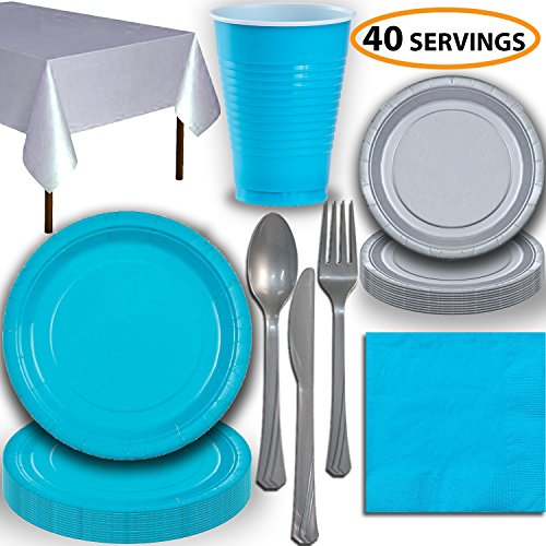 (Disposable Party Supplies, Serves 40 - Turquoise and Silver - Large and Small Paper Plates, 12 oz Plastic Cups, Heavyweight Cutlery, Napkins, and Tablecloths. Full Two-Tone Tableware Set)