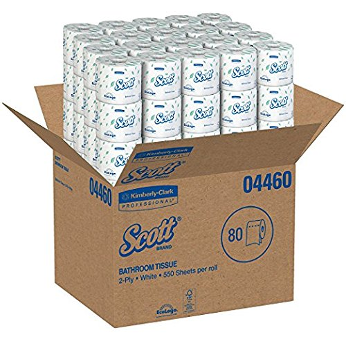 Scott Professional Professional Bulk Toilet Paper for Business (04460), Individually Wrapped Standard Rolls, 2-PLY, White, 80 Rolls/Case, 550 Sheets/Roll (1 CASE)