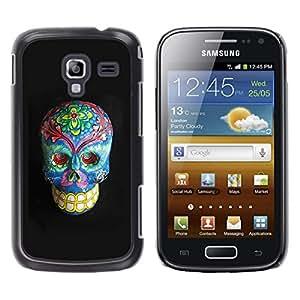 Samsung Galaxy Ace 2 , JackGot - Impreso colorido protector duro espalda Funda piel de Shell (Floral muerte del gris del cráneo azul Huesos)