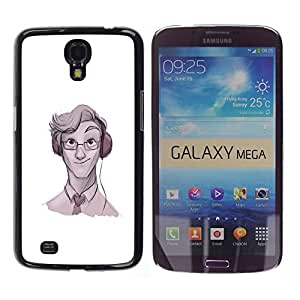 Shell-Star Arte & diseño plástico duro Fundas Cover Cubre Hard Case Cover para Samsung Galaxy Mega 6.3 / I9200 / SGH-i527 ( Geek Music Glasses Tie Art Headphones )