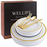 125 Piece Gold Plastic Plates& Plastic Cutlery Set ,Service for 25 Disposable Dinnerware Sets Includes: 25 Dinner Plates, 25 Dessert Plates, 25 Forks, 25 Knives, 25 Spoons (Gold Rim)