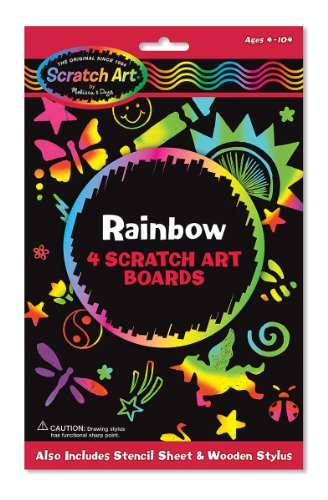 (Melissa & Doug Scratch Art Activity Kit: Rainbow - 4 Boards, Stencil Sheet, Wooden Stylus)