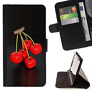 BETTY - FOR Samsung Galaxy A3 - cool cherry berry twig red delicious nature - Style PU Leather Case Wallet Flip Stand Flap Closure Cover