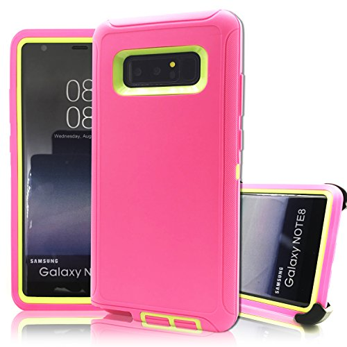 Samsung Galaxy Note 8 Case,Vodico Hybrid Heavy Duty Defender Military Grade Shockproof Rugged Armor High Impact Resistant TPU Bumper Cover with Belt Clip Holster&Kickstand for Note 8 (Rose Green)