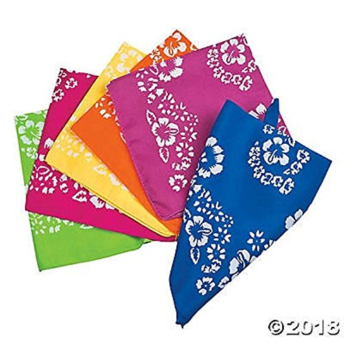Hibiscus Bandannas for Luau Parties - 1 Dozen Assorted colors