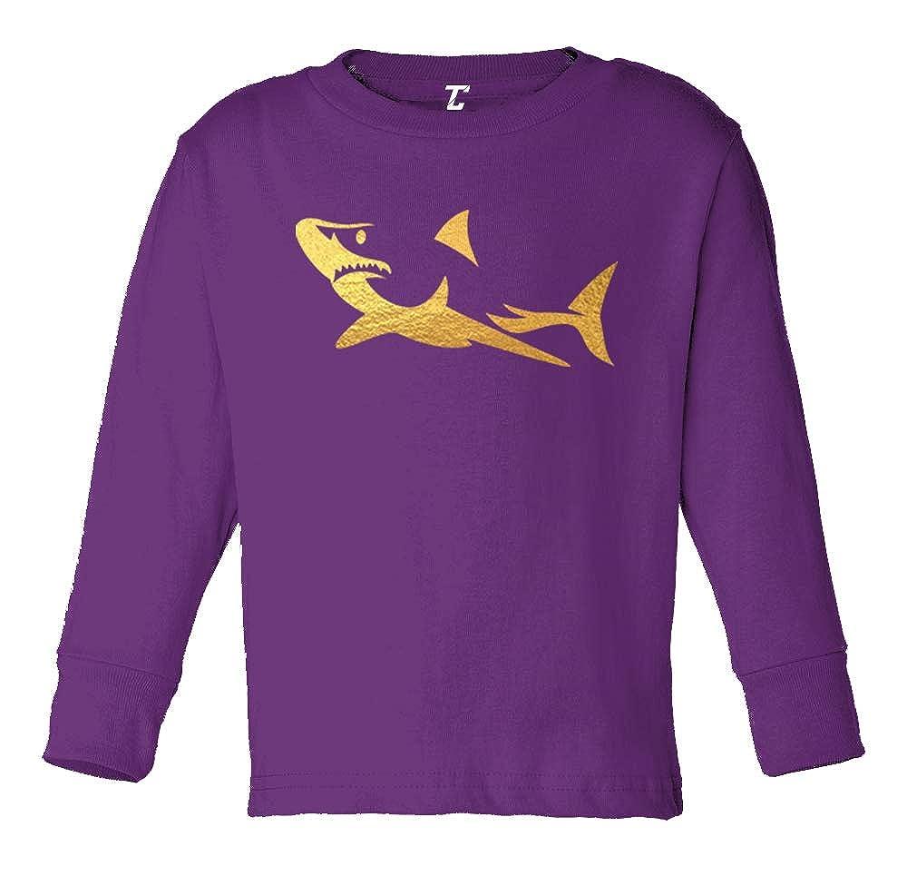 Great White Long Sleeve Toddler Cotton Jersey Shirt Gold Foil Shark Silhouette