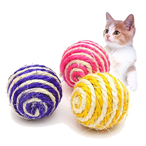 Cat Pet Sisal Rope Weave Ball Teaser Play Chewing Rattle Scratch Catch Toy Funny Kitten Play Dolls Hedgehog Rat Pig Natural Toy Pet Supplies Tumbler Ball Pet Cat Toys Interactive Toy (random color) -