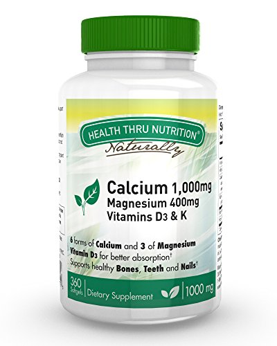 Calcium 1000mg and Magnesium 400mg with Vitamin D3 & K (360 Softgels) - 4 Month Supply