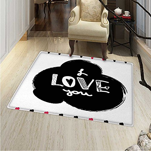 Romantic small rug Carpet Hand Drawn Poster with Modern Call