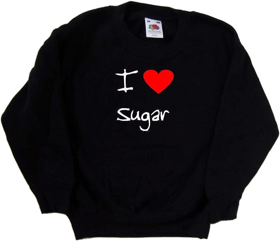 I Love Heart Sugar Black Kids Sweatshirt