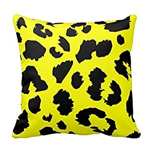 Bright Yellow and Black Leopard Print Decorative Square Throw Pillow Case Cover Animal Pattern Zippered 18X18 Inch Two Sides