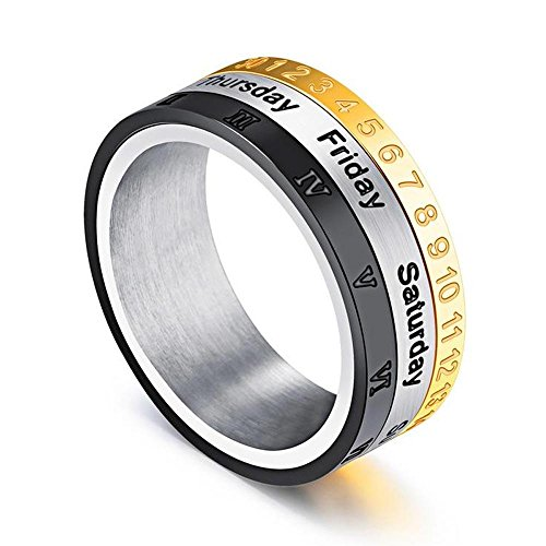 enhong 8MM Men's Spinner Ring Calendar Time Roman Numerals Band Stainless Steel Rings for Women US ()