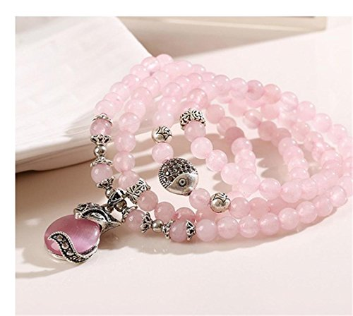 (6mm Natural Gem Semi Precious Gemstone Crystal Powder Bracelets Necklace,Birthstone Multilayer Hand String Accessories (Pink Fox))