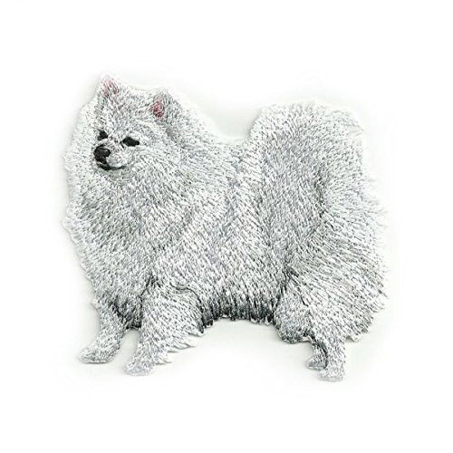 SSJSHOP New White German Spitz Iron Patch Dog Collection (Samoyed Silhouette Dogs)
